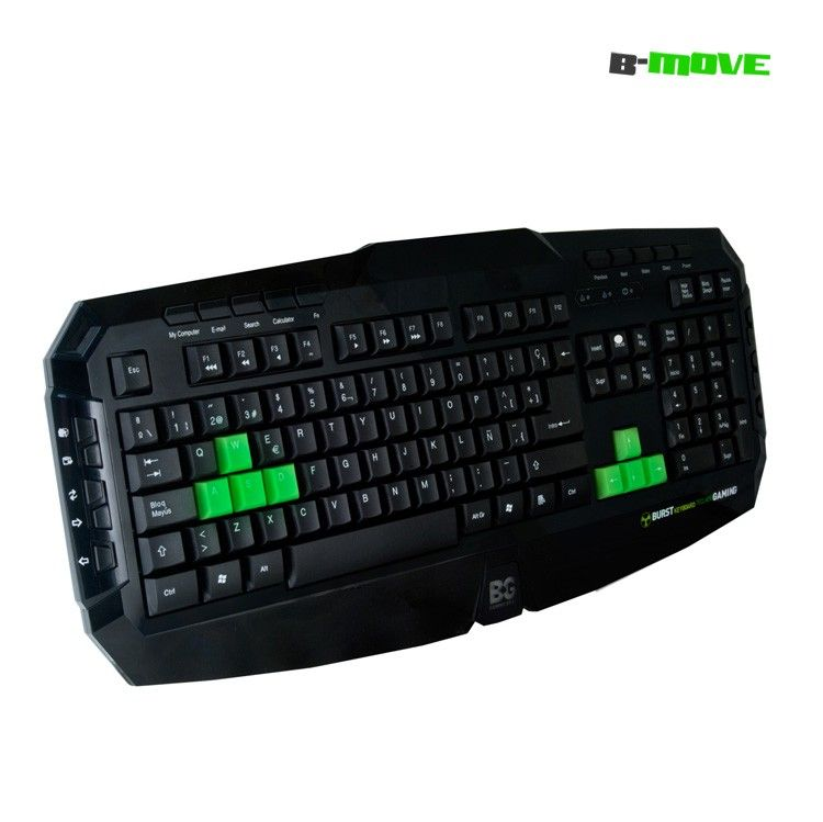 Teclado Gaming B-MOVE Burst Teclas Reflectantes UV.  Teclado gaming con 20 teclas multimedia y 6 reflectantes UV en color verde. Múltiples funciones de navegación y multimedia.   www.newhomepc.net