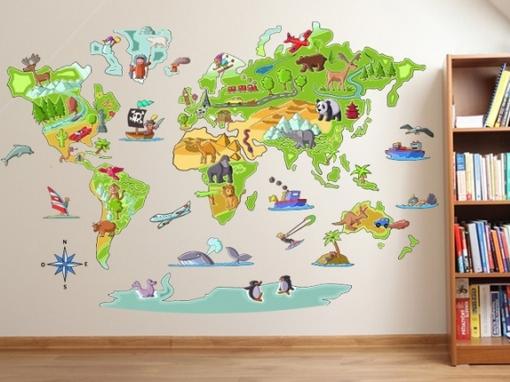 Vinilos mapamundi para nios  Trabajo juguete  Pinterest
