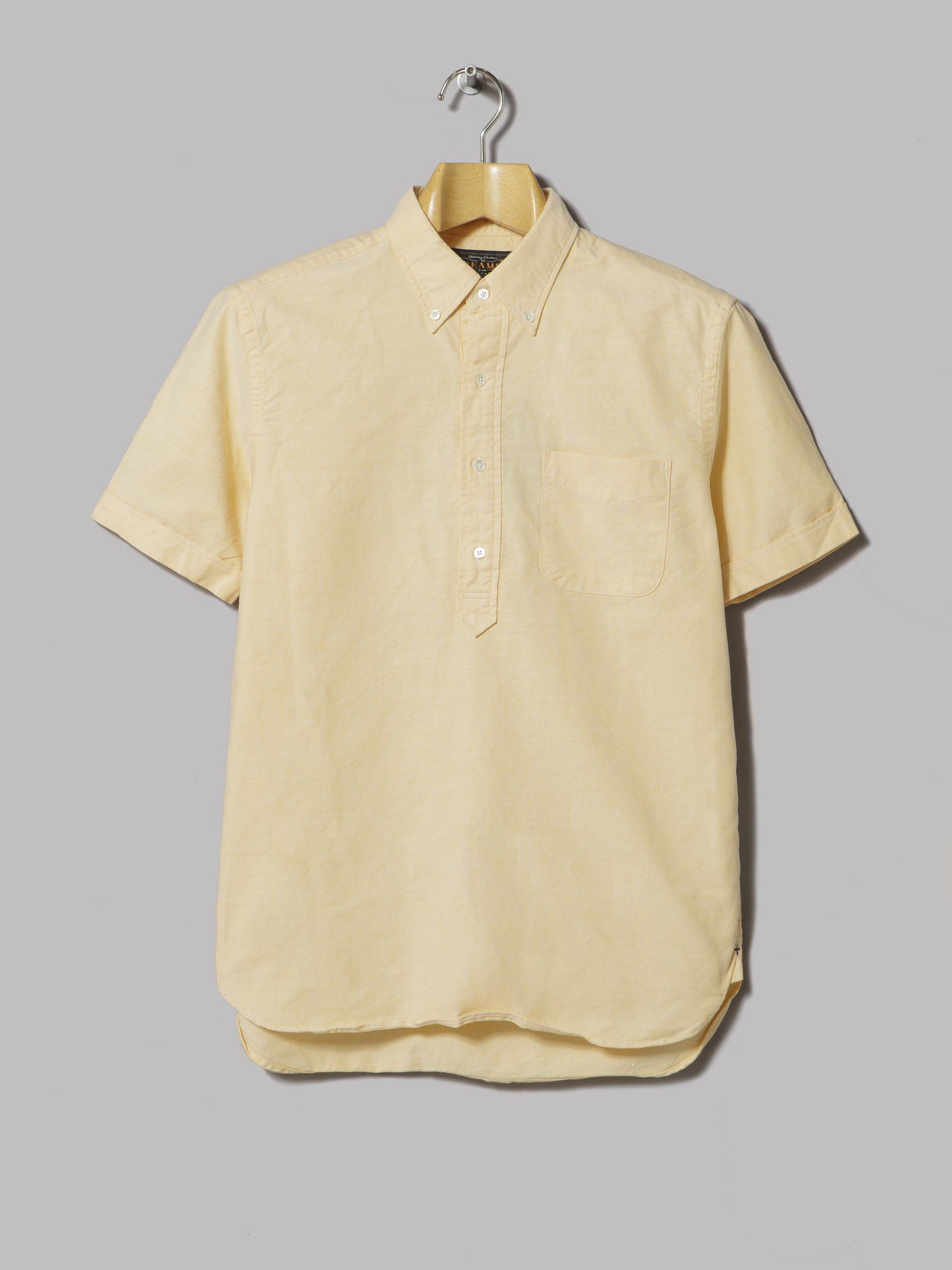 Beams Plus Pullover B D  Oxford Short Sleeved Shirt (Yellow