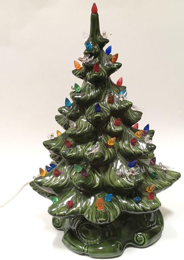 "Atlantic Mold Ceramic Christmas Tree Lights Birds 17"" Holiday ..."