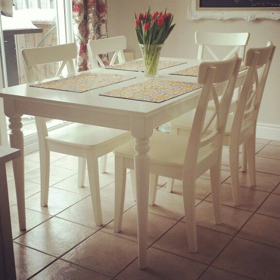 white ikea extension table ingatorp  Ingo  Ikea dining