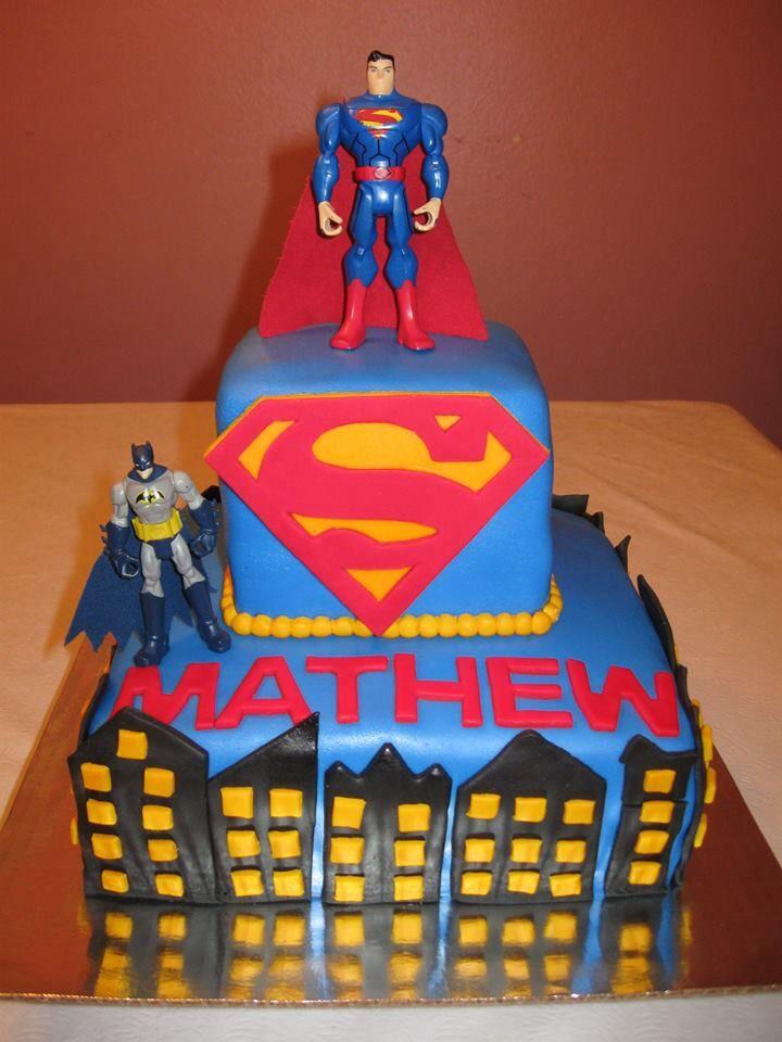 Superman And Batman Theme Birthday Cake Cakes Birthday Cake