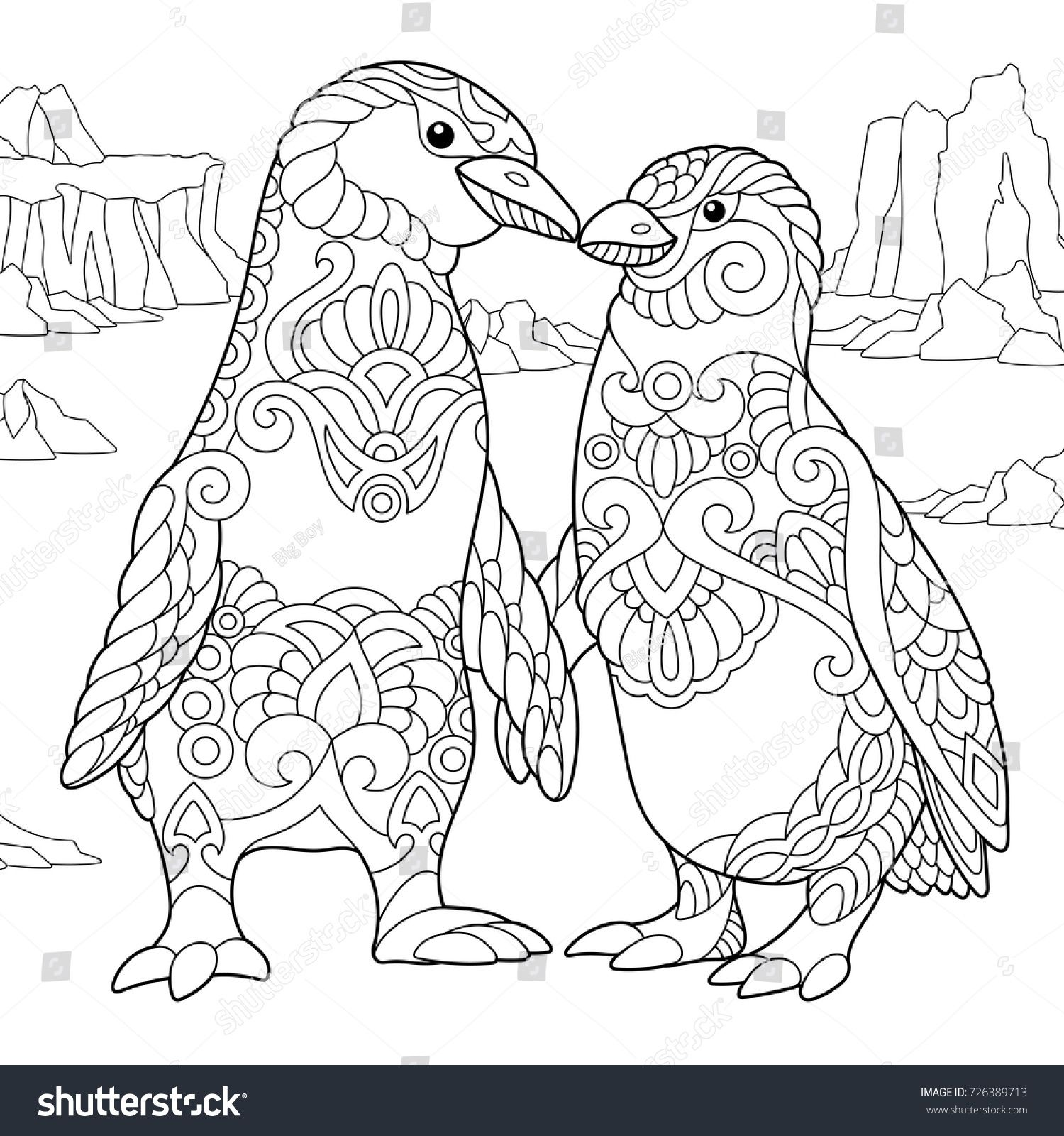 Coloring page of emperor penguins couple in love. Freehand sketch ...