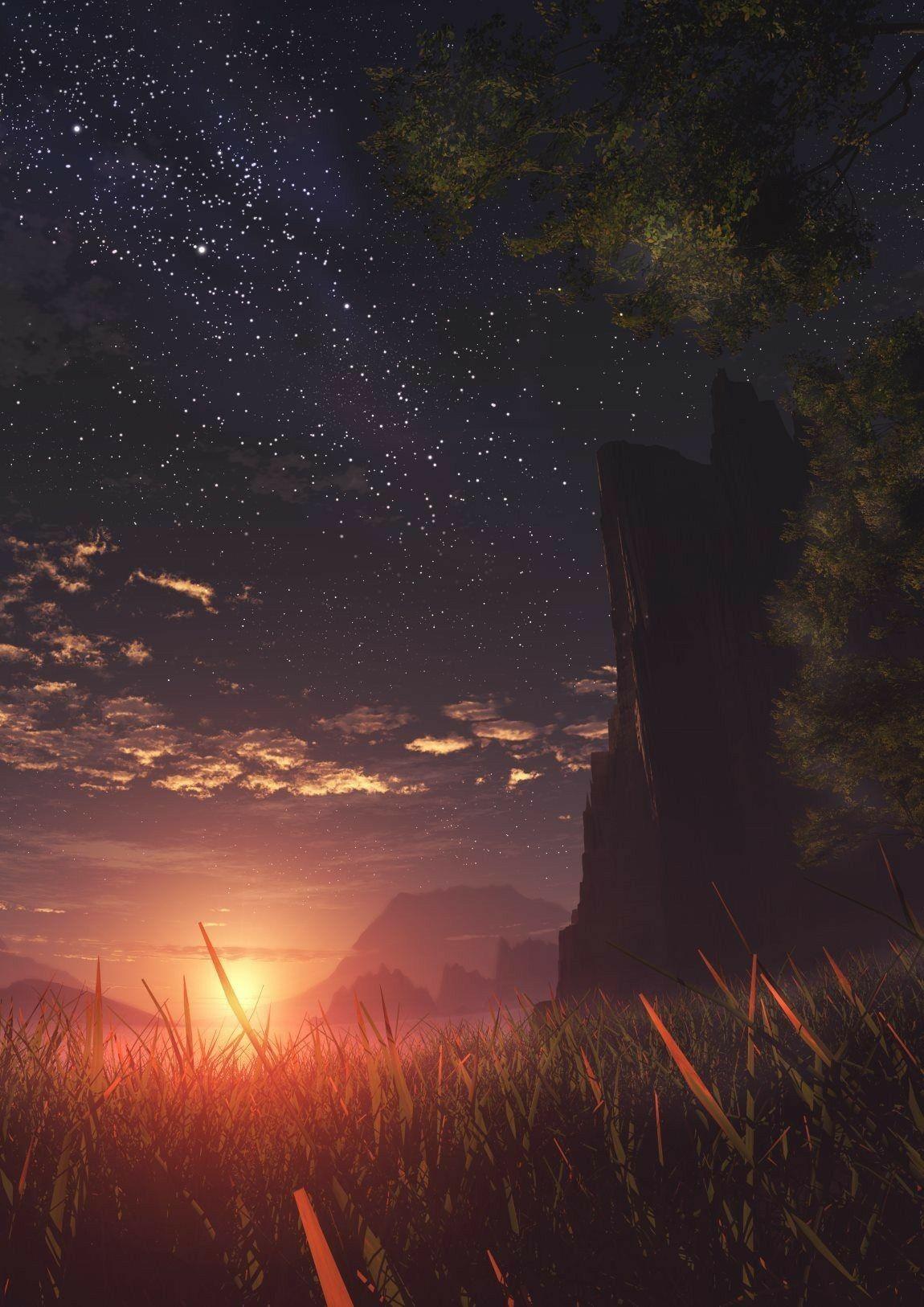 Sunset over the field illustration #art #digitalart #digitalpainting