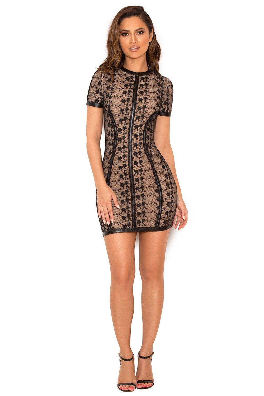 Clothing : Bodycon Dresses : 'Calvina' Black Lace Mini Dress