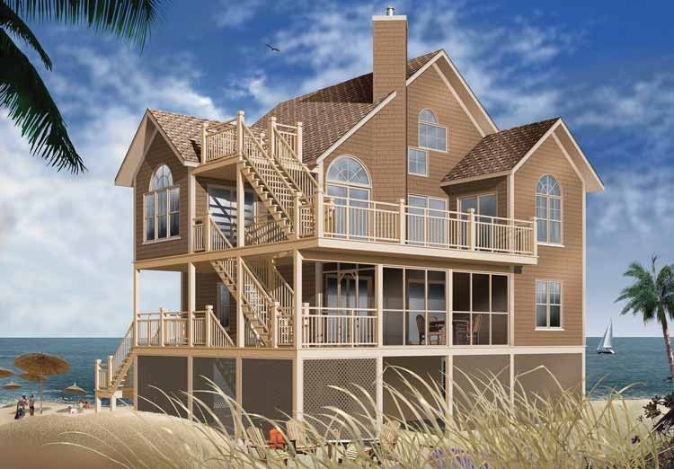 Eplans Contemporary-Modern House Plan - Three-Level Beach House