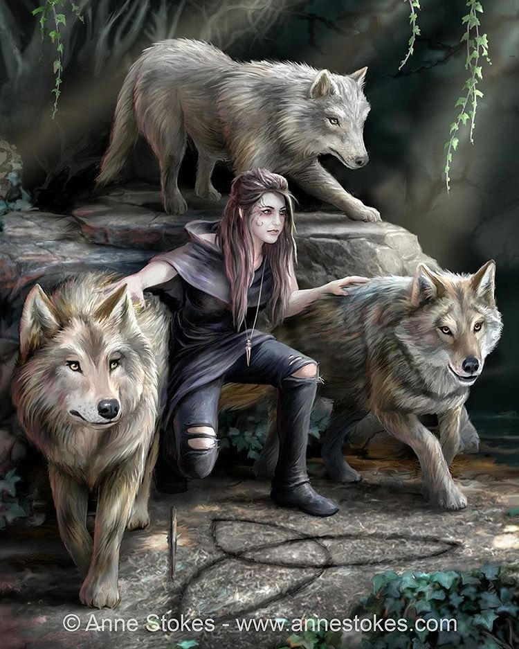 """Photo of Anne Stokes on Instagram: """"Here is the new wolf artwork that I've been working on. A bit more of an illustrative one this time. I've called it Power of Three. Hope…"""""""