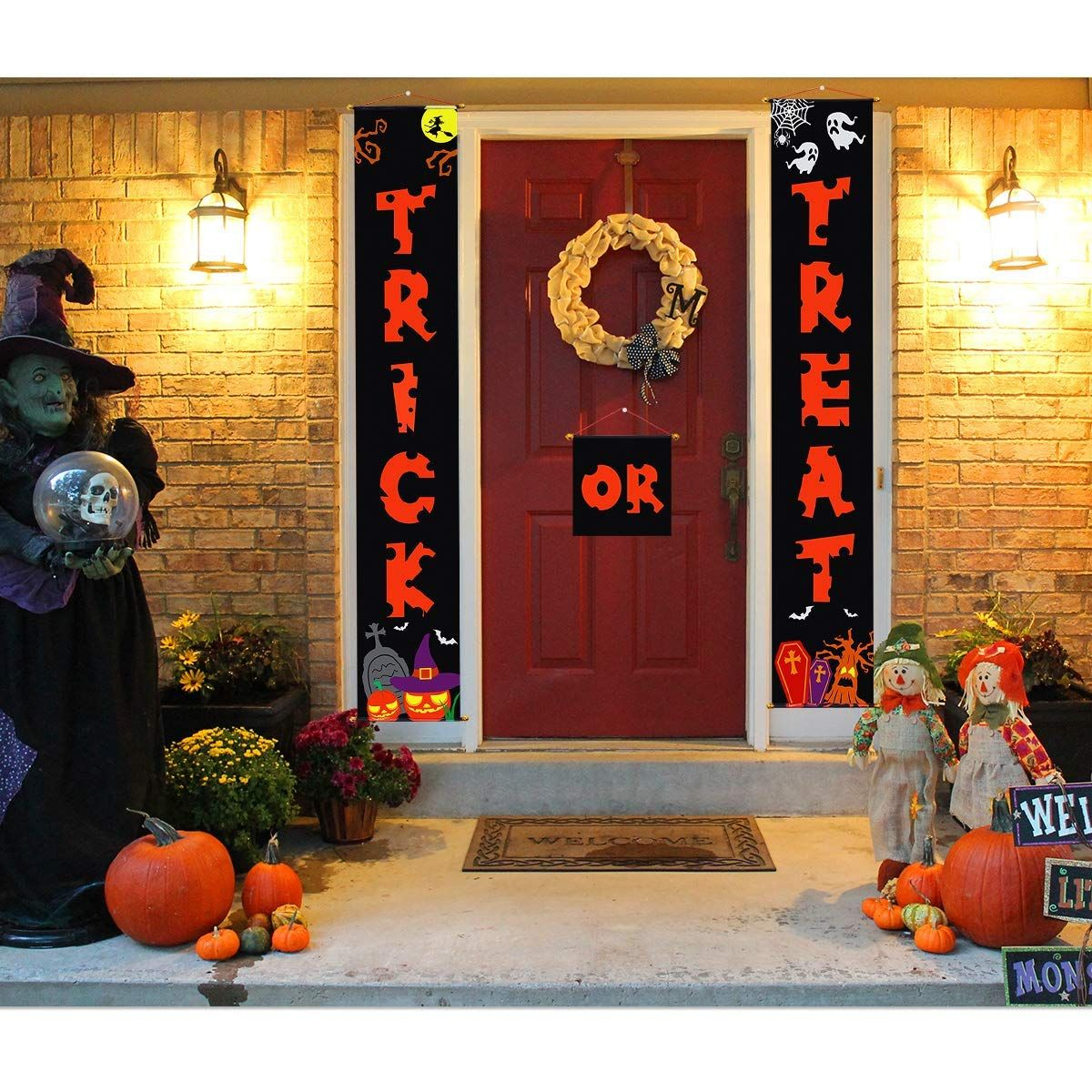 Halloween Decorations Door Banners for Trick or Treat - halloween decorations for the office