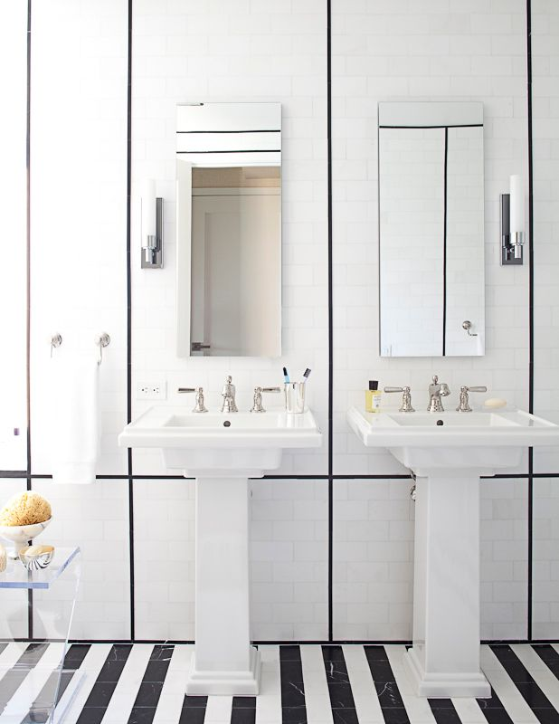 Love The Stripe Black And White Marble Floor Narrow Pencil Highlight Tiles Used On Wall In This Modern Bath
