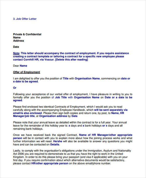 job offer letter examples free amp premium templates appointment - employment offer letter