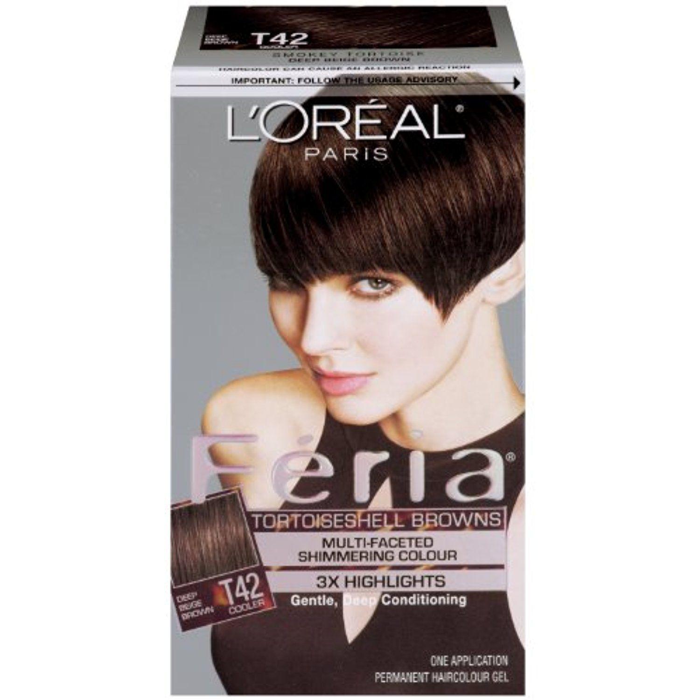 Loreal Paris Feria Hair Color T42 Deep Beige Brownsmoky Tortoise
