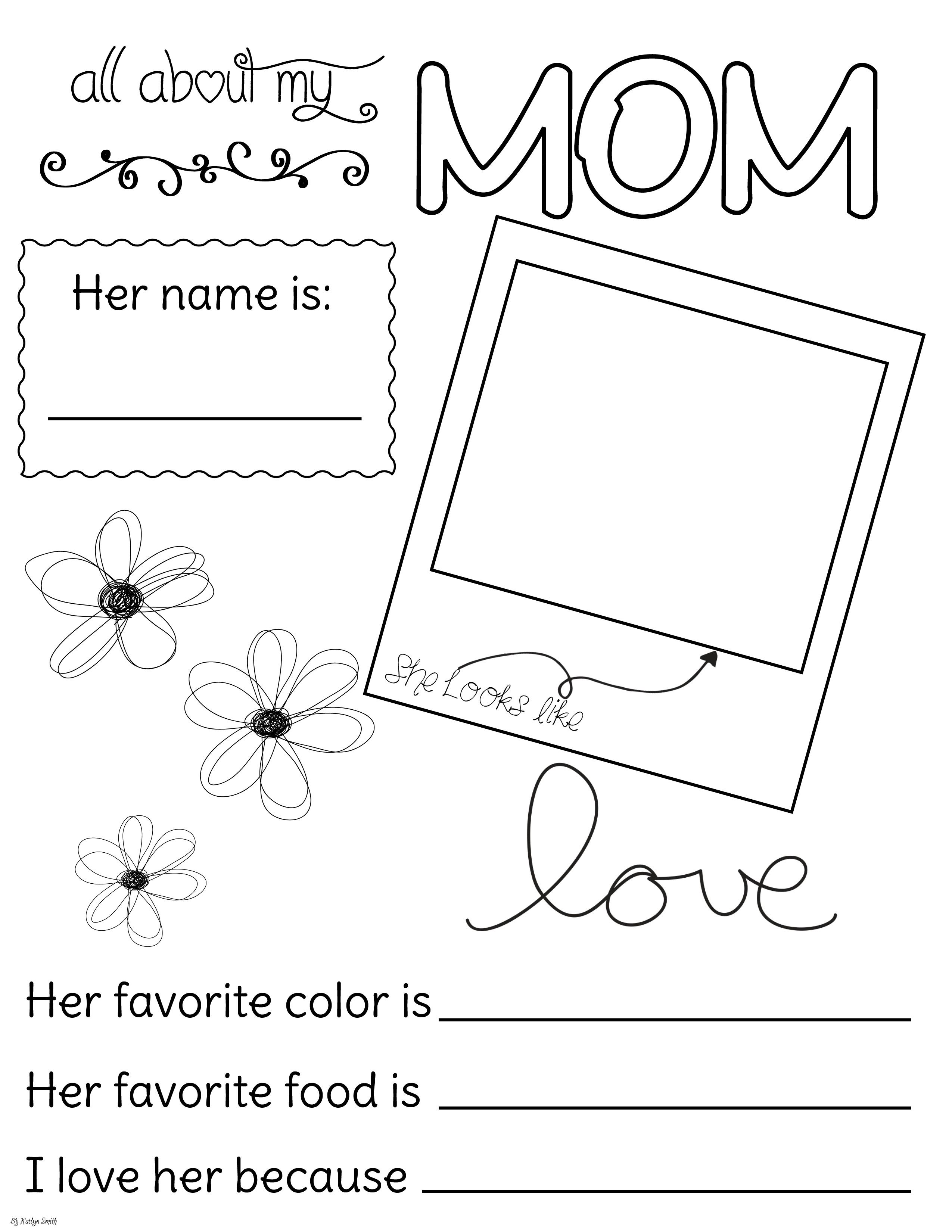All About My Mom   Fill Out And Coloring Page   Motheru0027s Day   Church