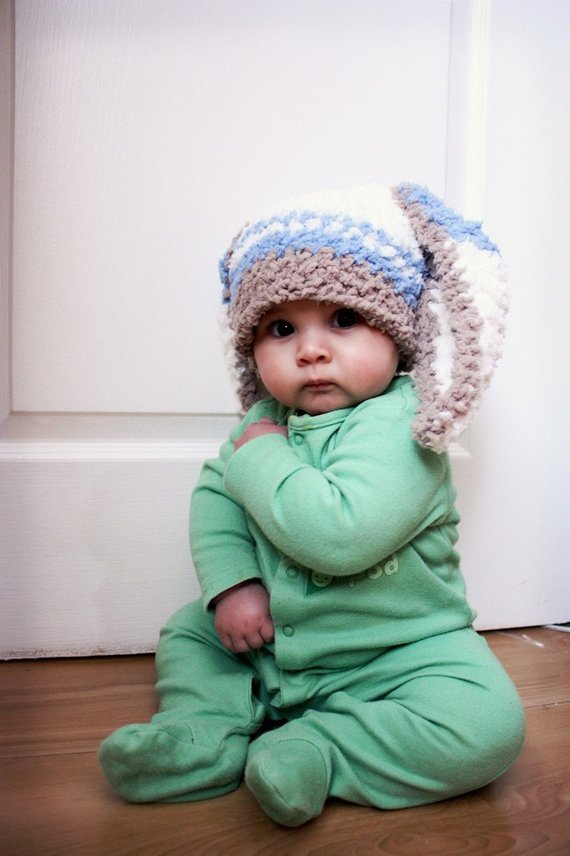 6a27112544a0e READY TO SHIP 3 to 6m Boy Rabbit Baby Hat, Blue Stripe Bunny Ears ...