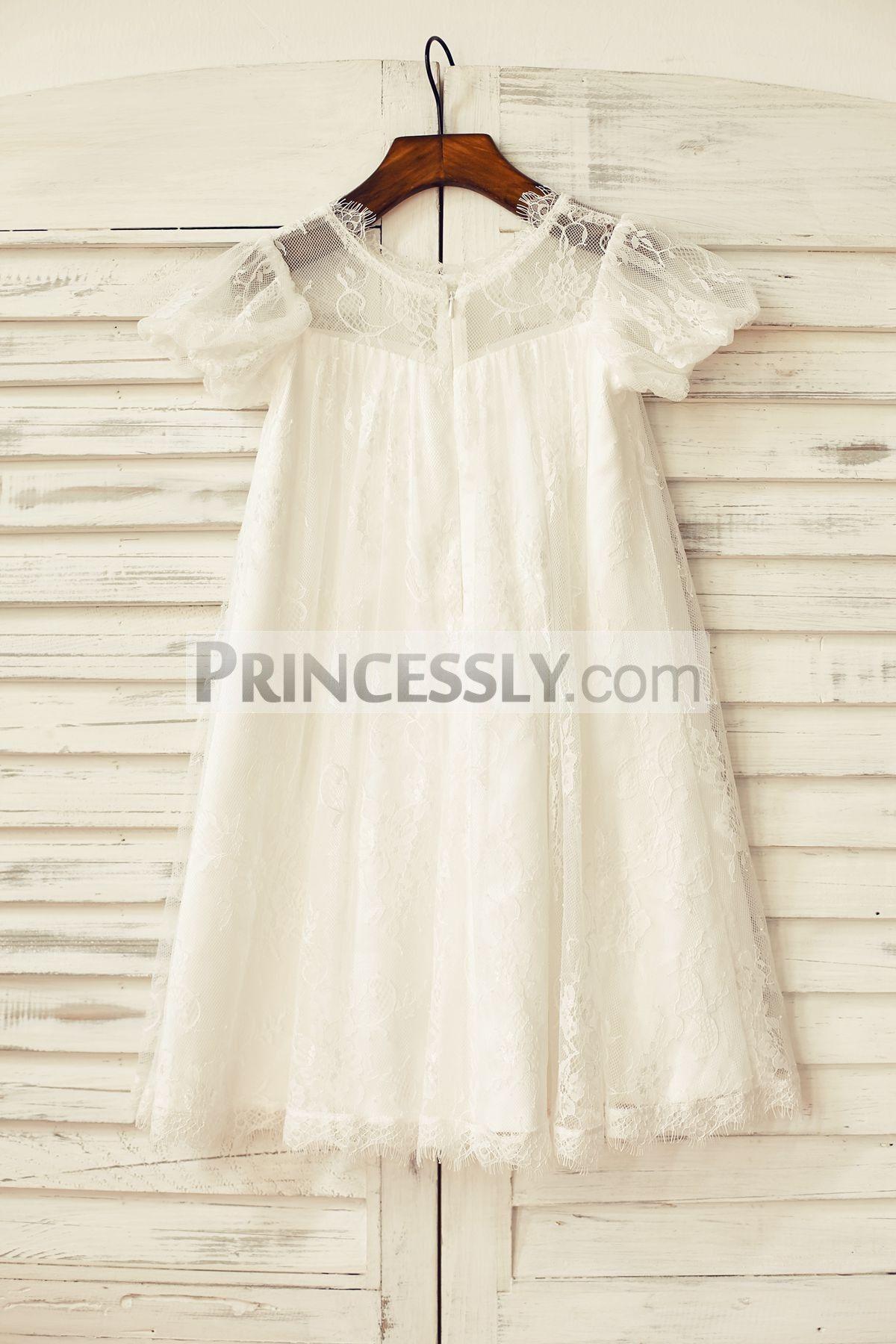 Short Puffy Sleeve Ivory Eyelash Lace Flower Girl Dress in