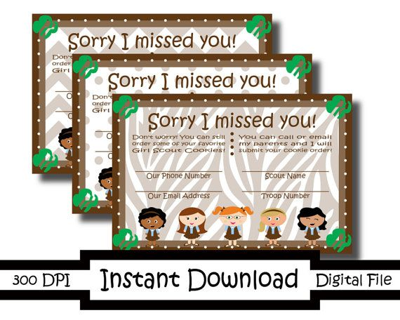 4x6 Printable Sorry I Missed You Girl Scout Cards Brownies On Etsy 3 99 Girl Scouts I Miss You Card Girl Scouts Brownie