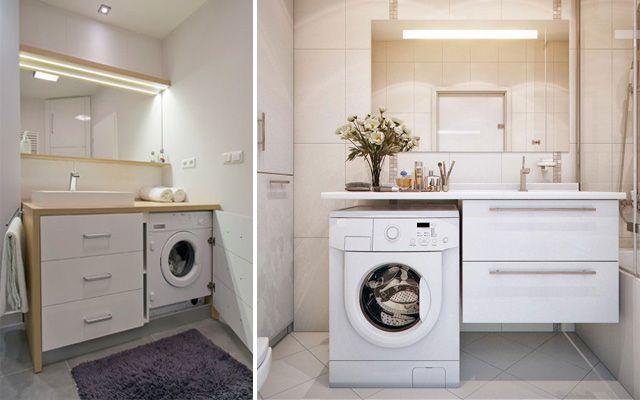 Distribuci n de lavadora y secadora en el ba o para casas - Instalar lavadora en bano ...
