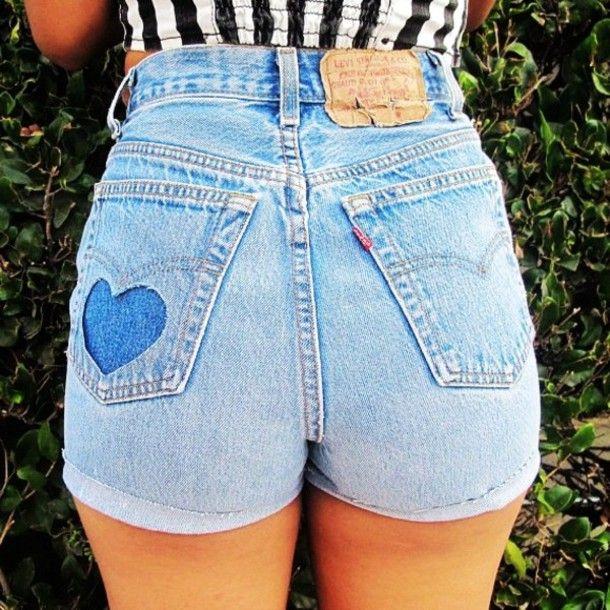 Shorts: cute, pretty, heart, summer, spring, blue, black, white ...