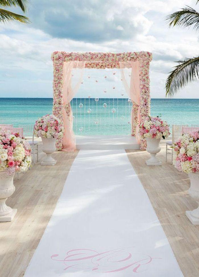 Perfect Daytime Beach Wedding Decor Setup Rose Quartz