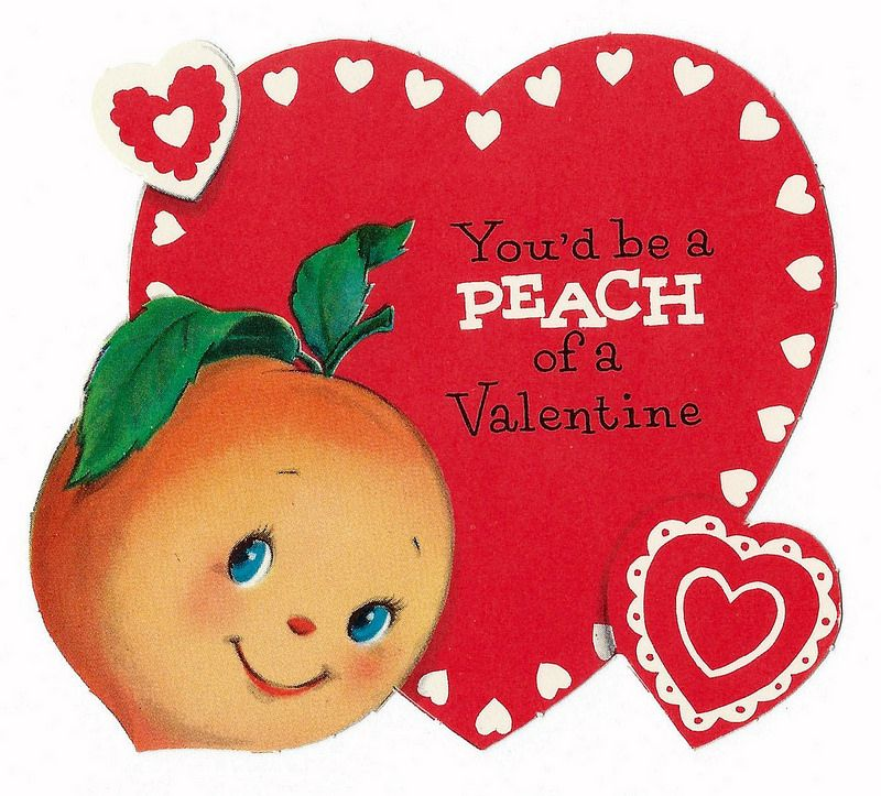 Vintage Valentine Day Card - Youu0027d Be A Peach Of A Valentine - valentines day cards