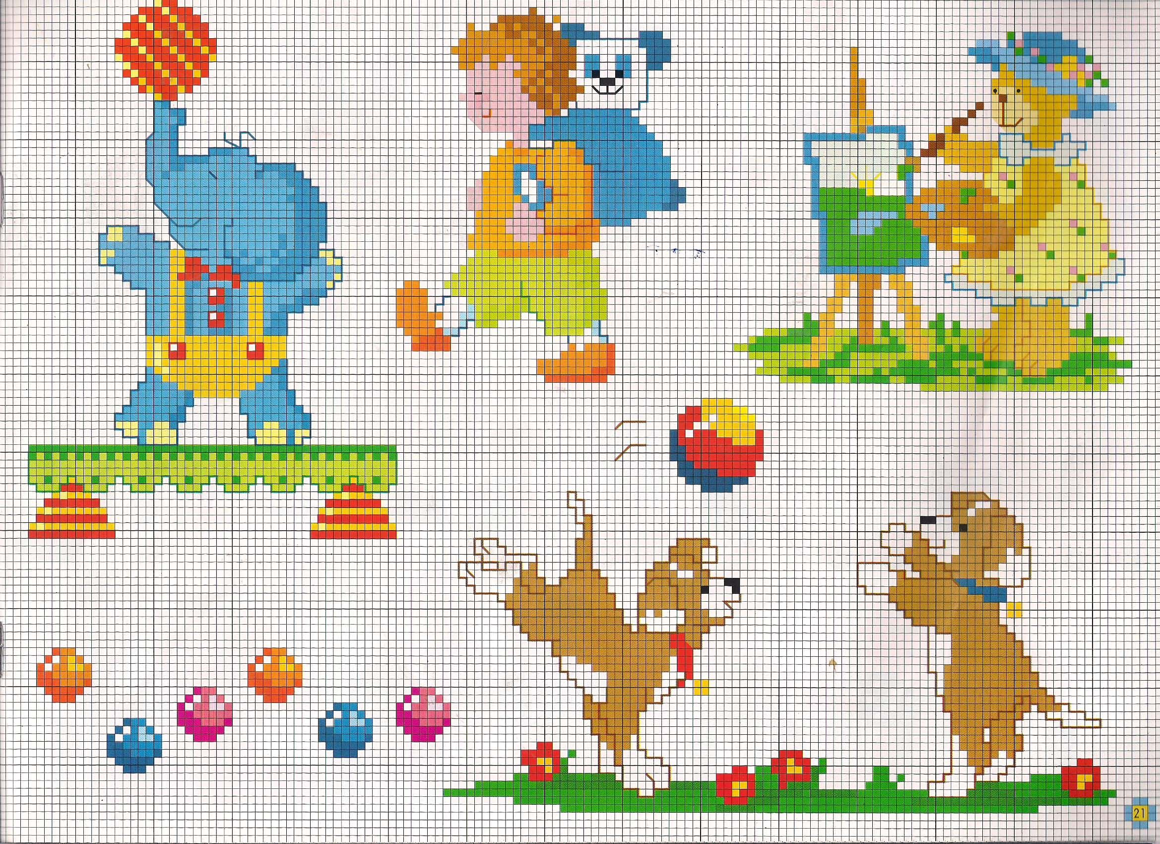 Elefanti e orsetti che giocano animali per bambini punto for Farfalle a punto croce per bambini
