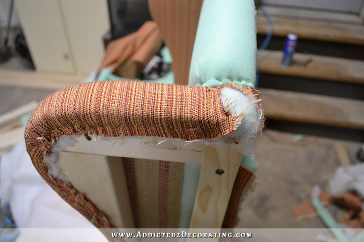DIY wingback dining chair - how to upholster the frame - 58