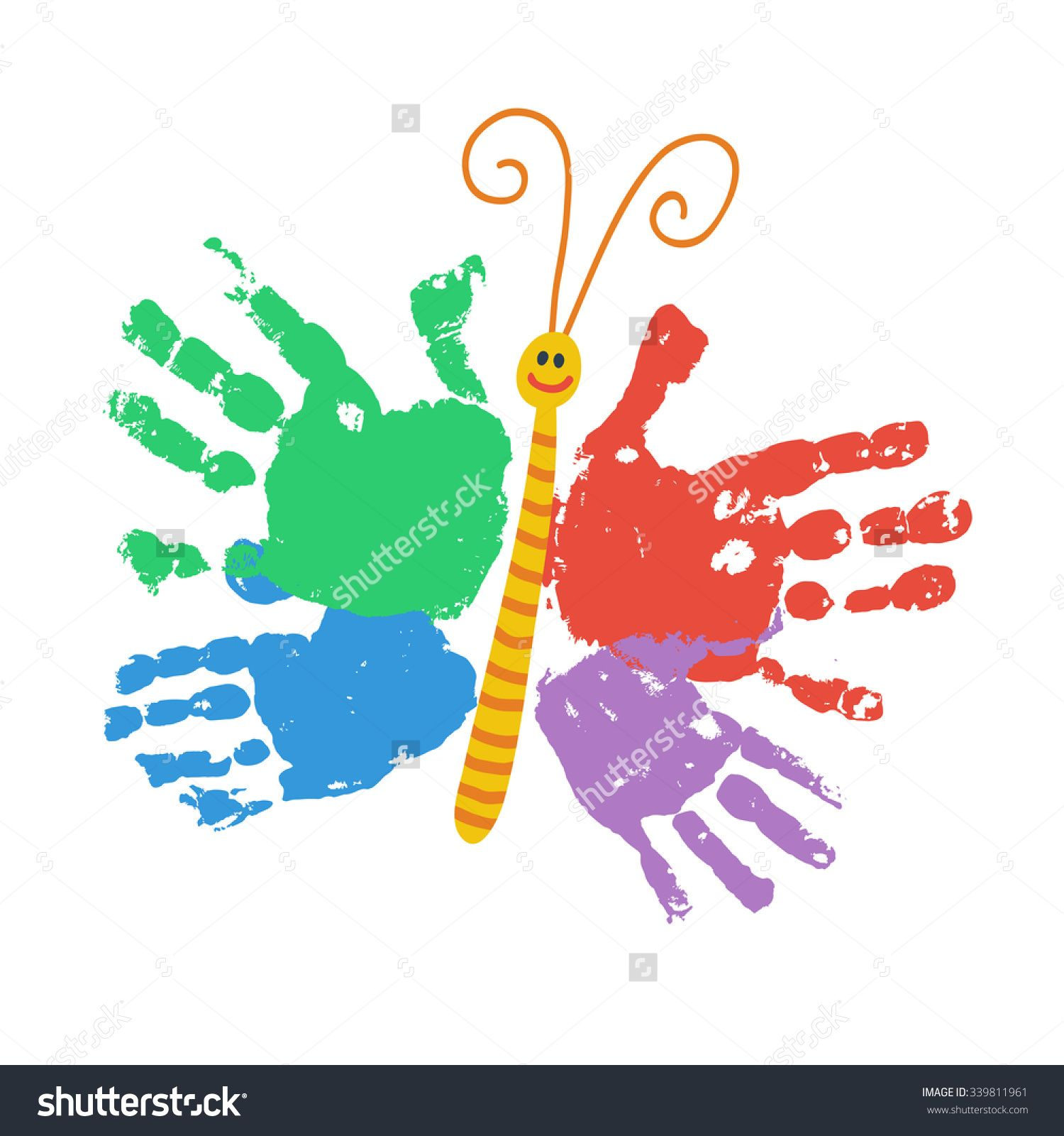 Two Kids Handprint Butterfly