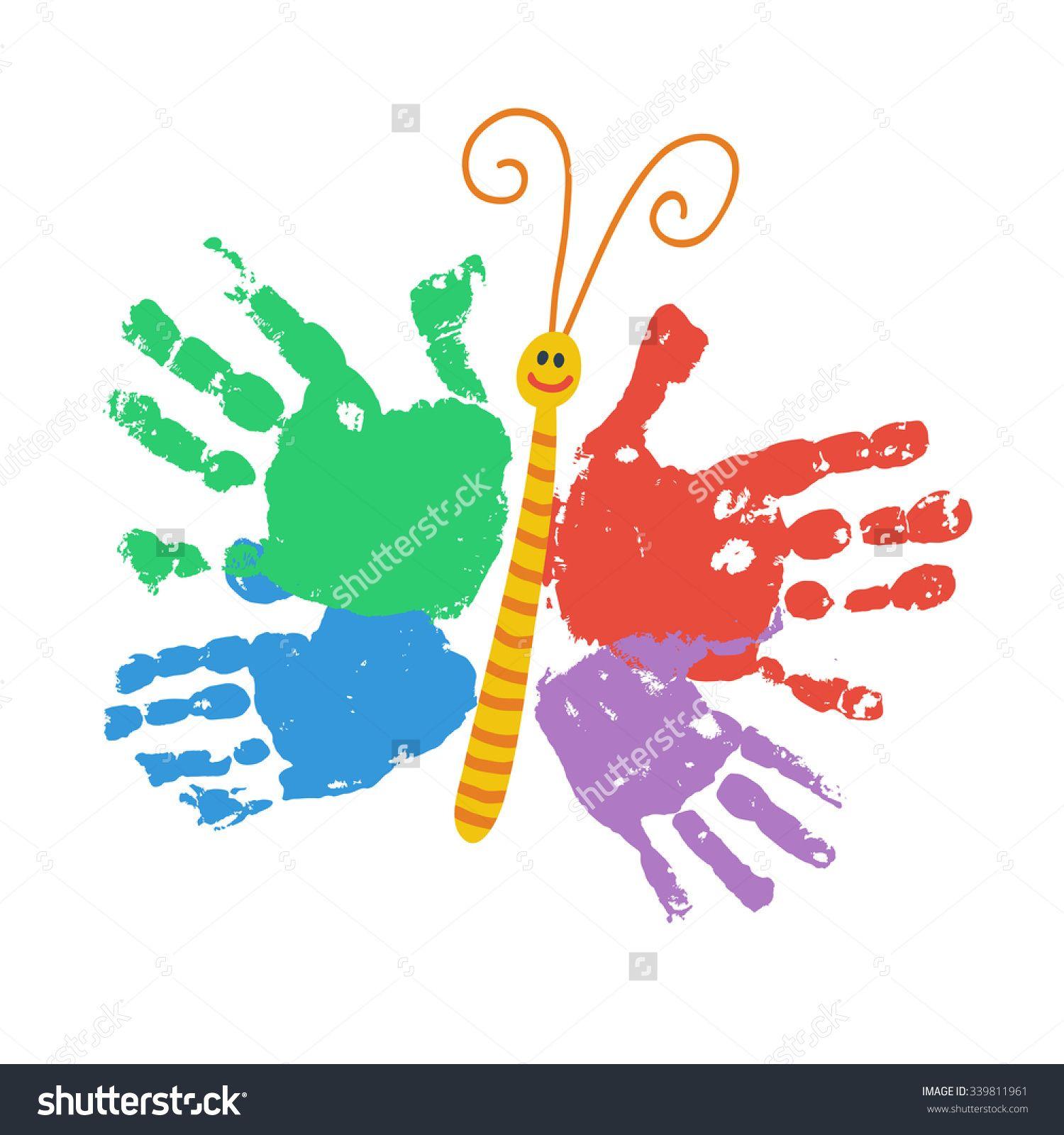 Two Kids Handprint Butterfly
