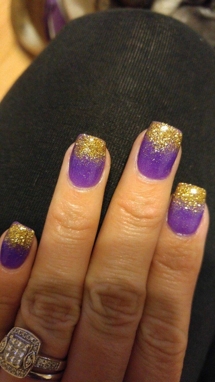 purple and gold nails.ecu pirates