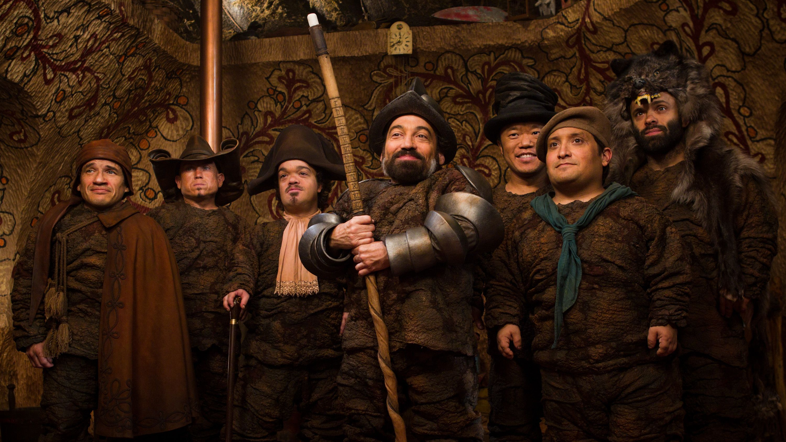 The Dwarves from Mirror, Mirror:  In the back on the right are Ronald Lee Clark (in the top hat) and Sebastian Saraceno (in the bear hood) from Pit Boss.  I love them both!!!!!