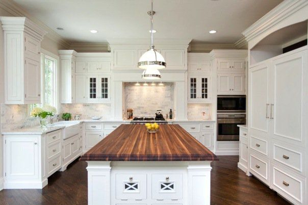 Combo Of Marble And Wood Countertops Considering It White Kitchen Island Kitchen Island Countertop Kitchen Style