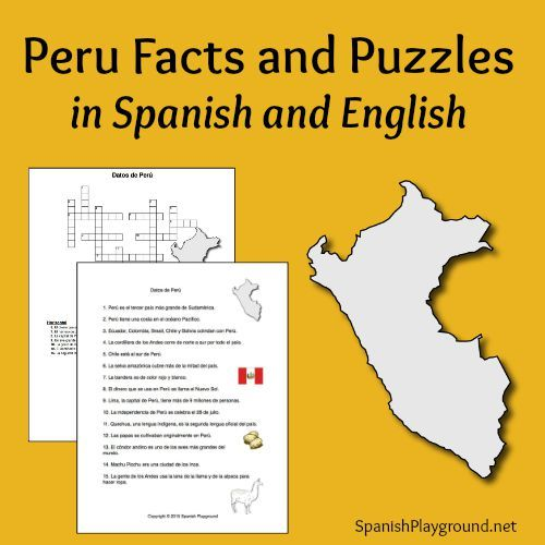 Peru Facts and Puzzles in Spanish and English – Spanish Reading Comprehension Worksheets