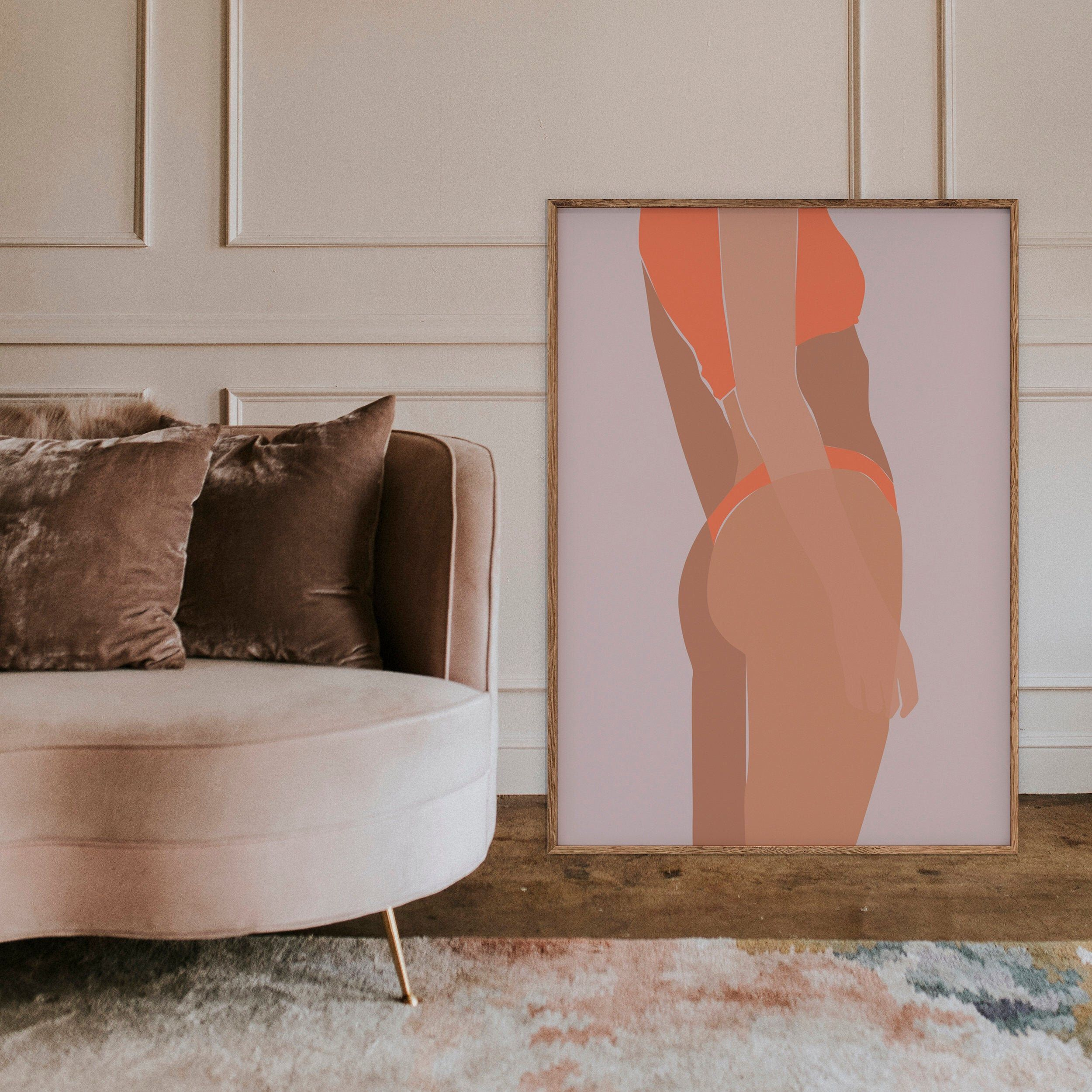 Orange Bikini Fashion Illustration Feminine Wall Art Etsy Feminine Wall Art Etsy Wall Art Modern Wall Art