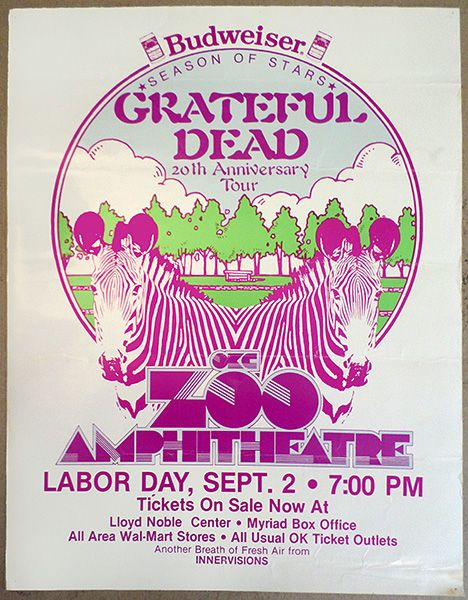 1985 09 02 Zoo Amphitheatre Oklahoma City With Images Grateful Dead Image Grateful Dead Poster Concert Posters