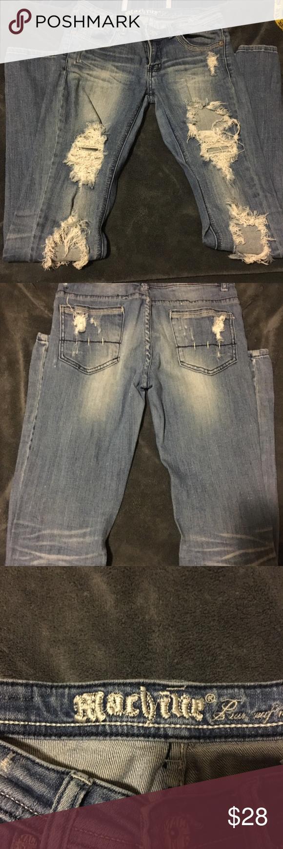 """Super distressed machine jeans Super distressed machine jeans. Darker blue color. 32"""" inseam Jeans Skinny"""
