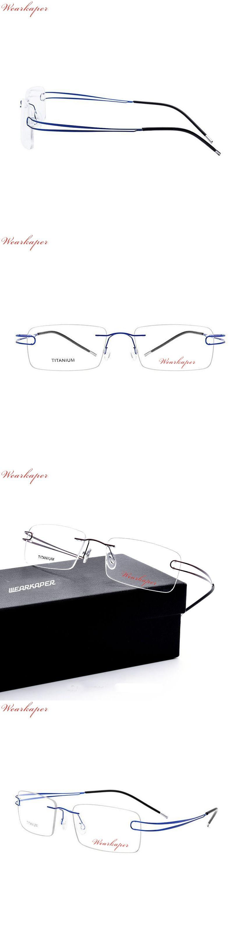 e14b16d4ad9 WEARKAPER Ultralight Eyewear Rimless Eyeglasses Prescription Optical Frame  No Screw Frameless Square Titanium Glasses Frame Men