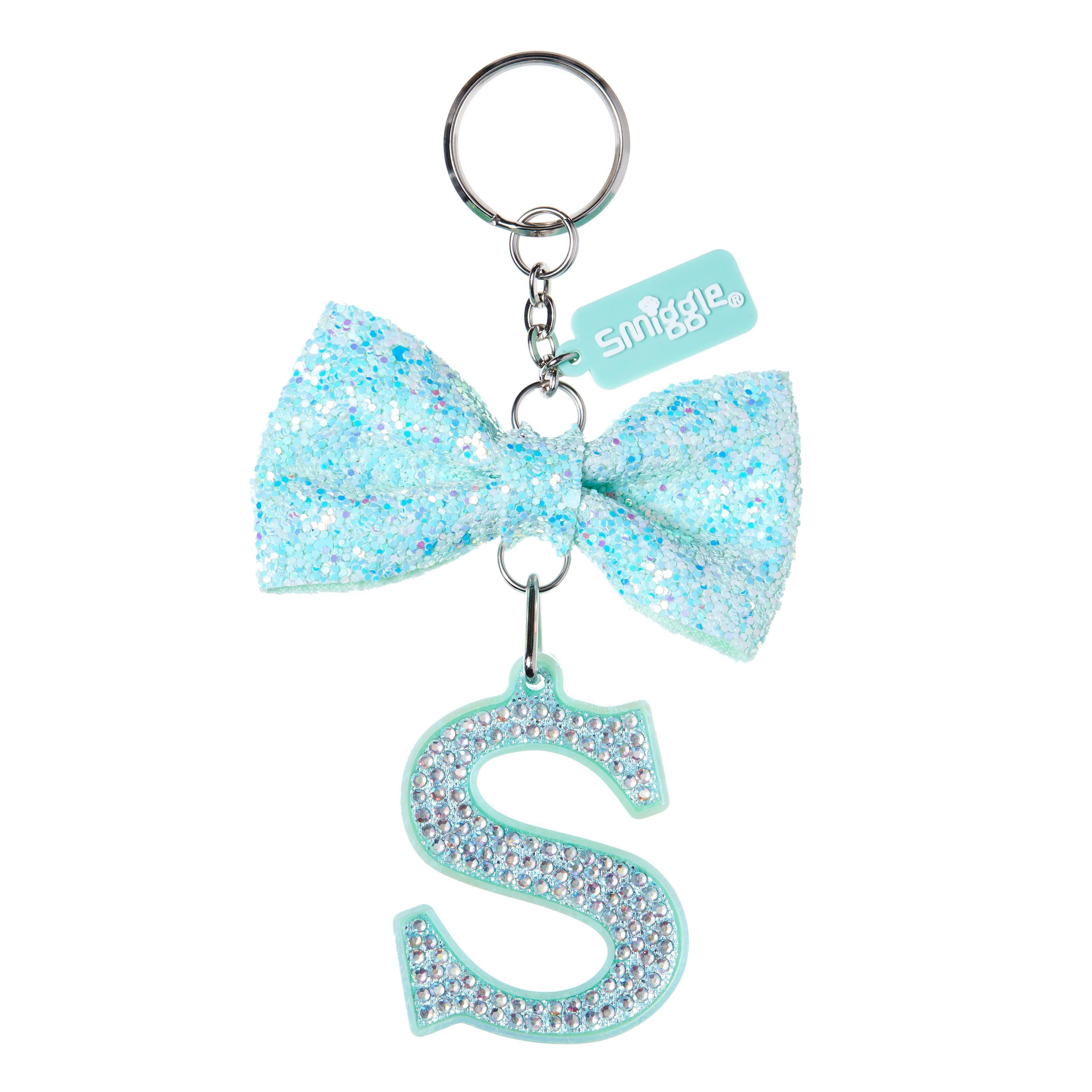Handmade Sparkling Glitter Bow keyring bag charm silver//black