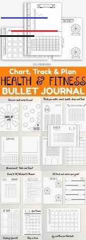 #BUJO #Bullet #Dotted #Fitness #Grid #Health #Journal #Printable Health and Fitness Bullet Journal ~...