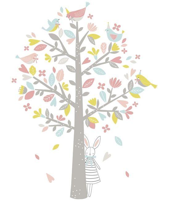 Sticker chambre du0027enfant arbre, oiseaux rose et vert - Flora Waycott - stickers chambre bebe garcon pas cher