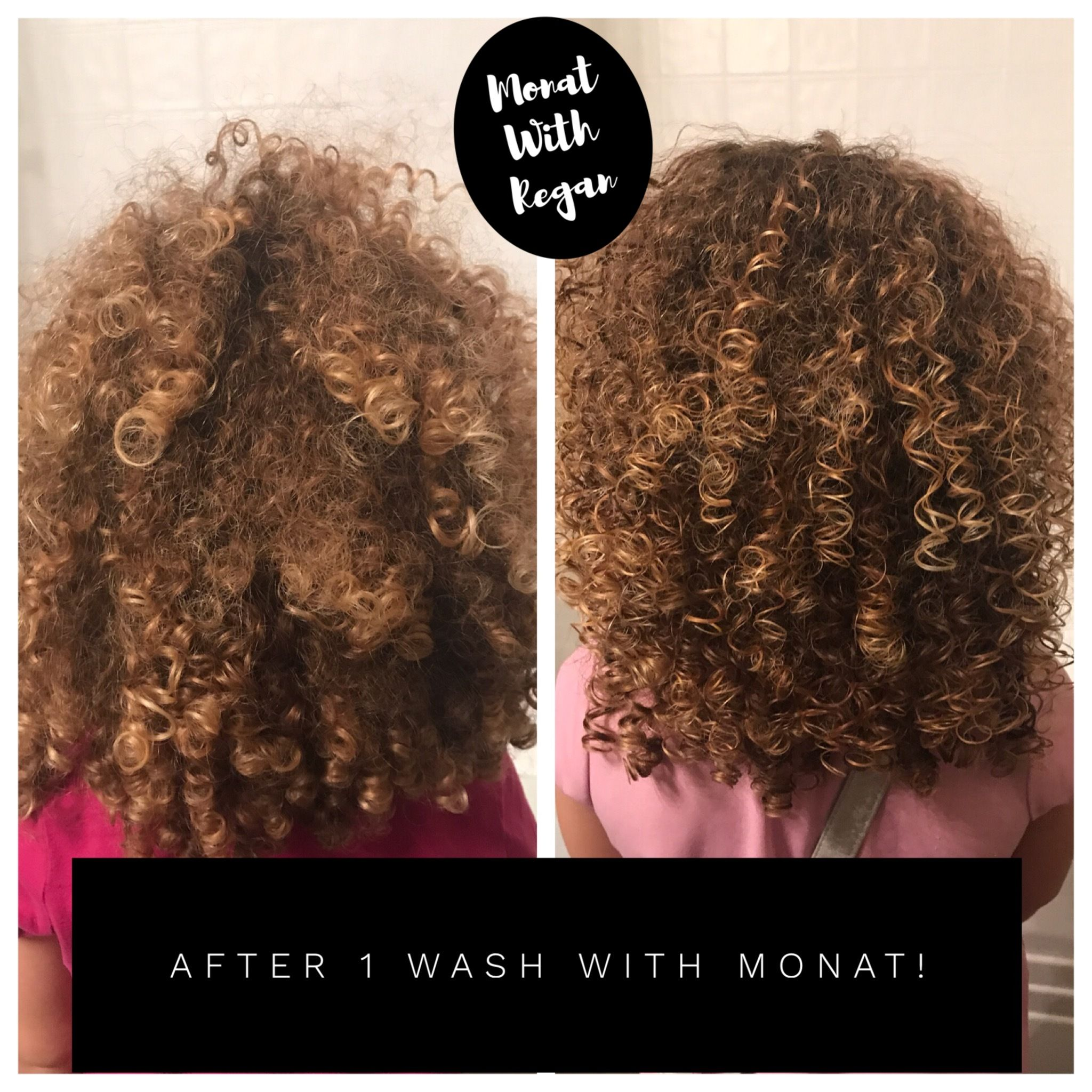 Before And After My Niece Has Super Curly Hair That Can Get Crazy I Used Monat Products Only On He Super Curly Hair Curly Hair Styles Shampoo For Curly Hair