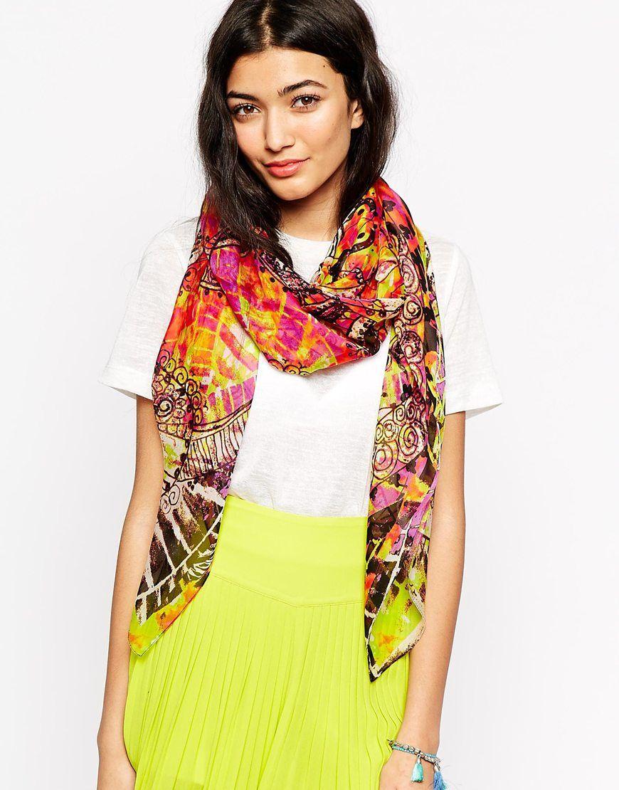 e85d424f8b Laura Orchant Silk Chiffon Indian Summer Print Scarf