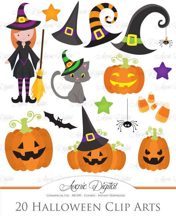 Cute Halloween Clipart Scrapbooking Printables Spooky Etsy Halloween Clipart Halloween Themed Paper Cute Halloween