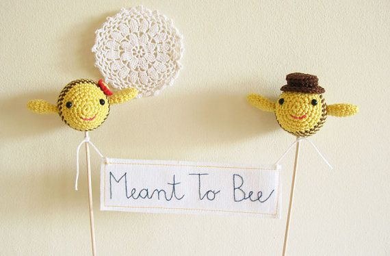 Ble Bees Wedding Cake Topper With Banner Meant To Bee Sign Made Order By Cherrytime