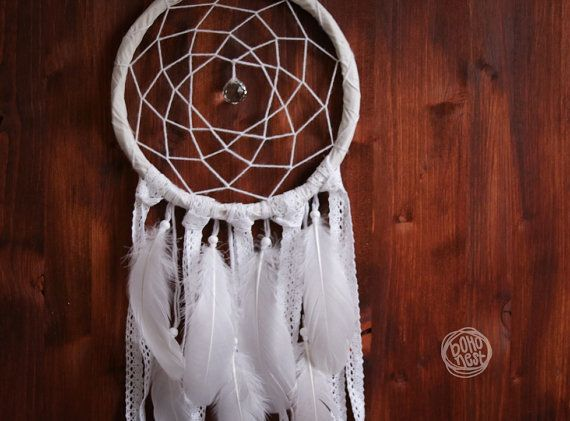 Dream Catcher  White Dreams  With Sparkling Crystal by bohonest #dream #catcher #boho #nest #bohemian #home #decor #wall #art #feather #feathers #white #natural #crytal #healing
