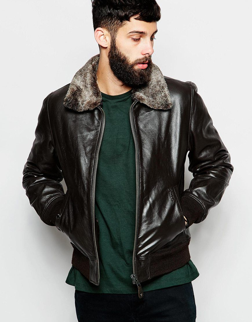 Image 1 of Schott Leather Bomber Jacket with Faux Fur Collar ...