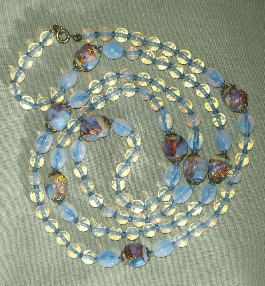 "Antique Deco venetian opalescent foil glass bead necklace 36"" long hand knotted #StrandString"