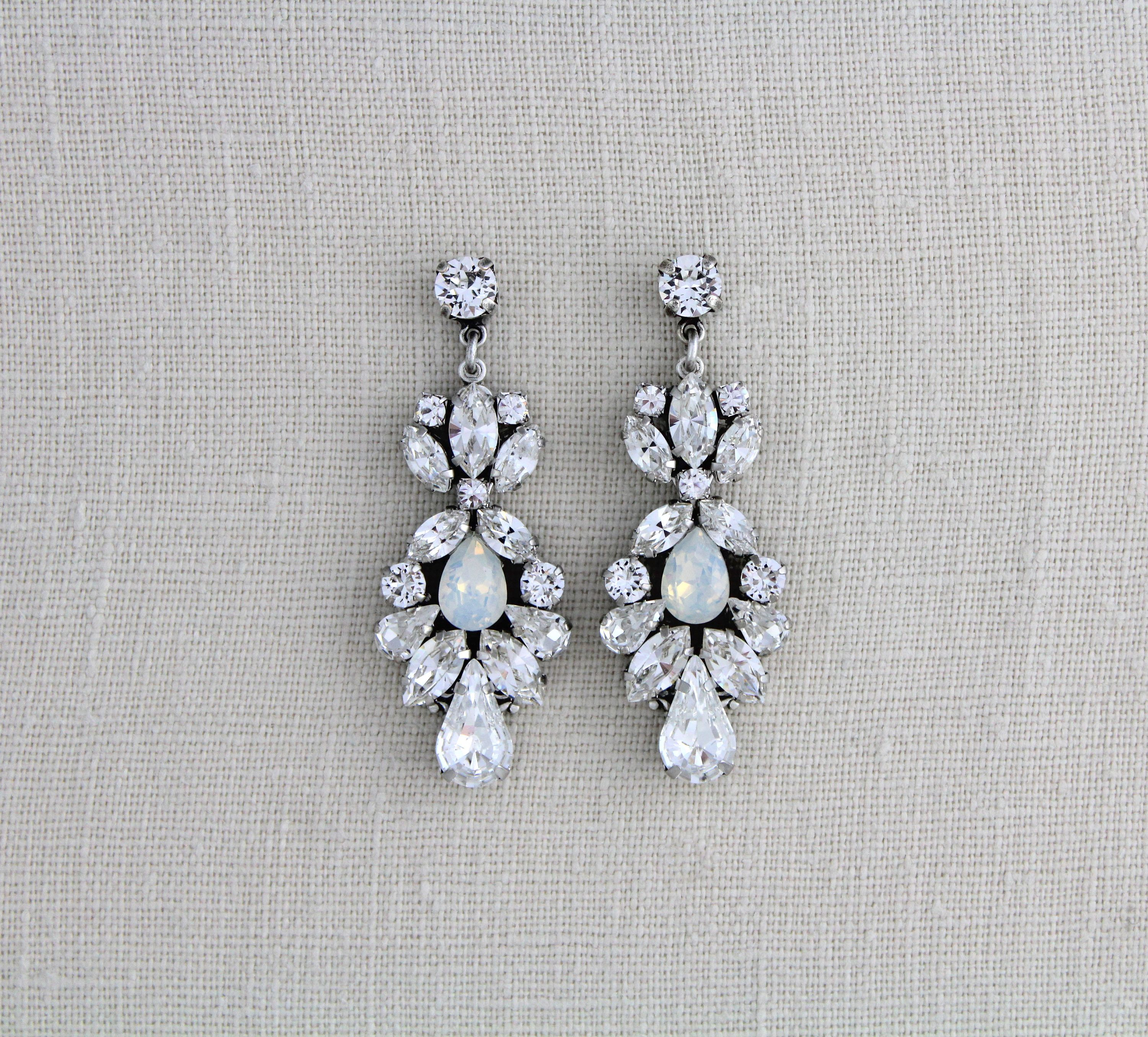 Crystal Bridal Earrings Swarovski Wedding Jewelry White Opal Chandelier Statement Vintage
