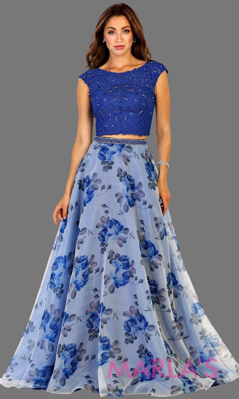 Long Two Piece Royal Blue Dress With Floral Skirt And Lace Top It