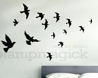 Flying Birds Wall Decal Birds Wall Sticker Flying Birds Set Of 12 Vinyl Wall Decal For Office Home Decor Room Art In 2021 Birds Flying Bird Wall Decals Wall Decals