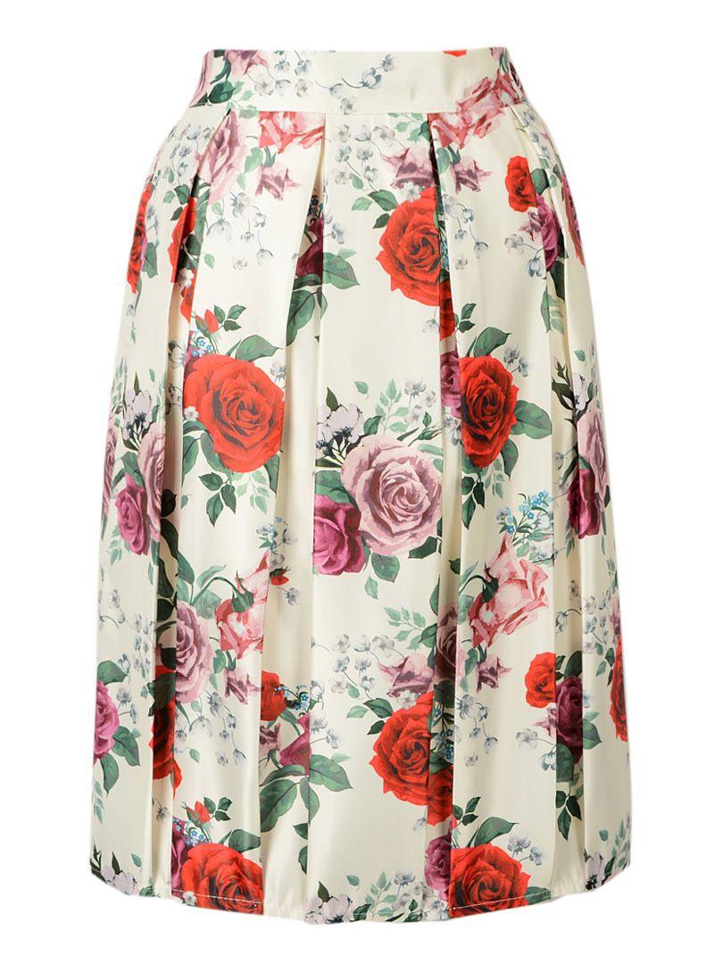 740df27c31 Encontrar Más Faldas Información acerca de Floral pliegues de cintura alta  Midi rodilla longitud Roses láminas Skater falda Casual 3 colores 2015  primavera ...