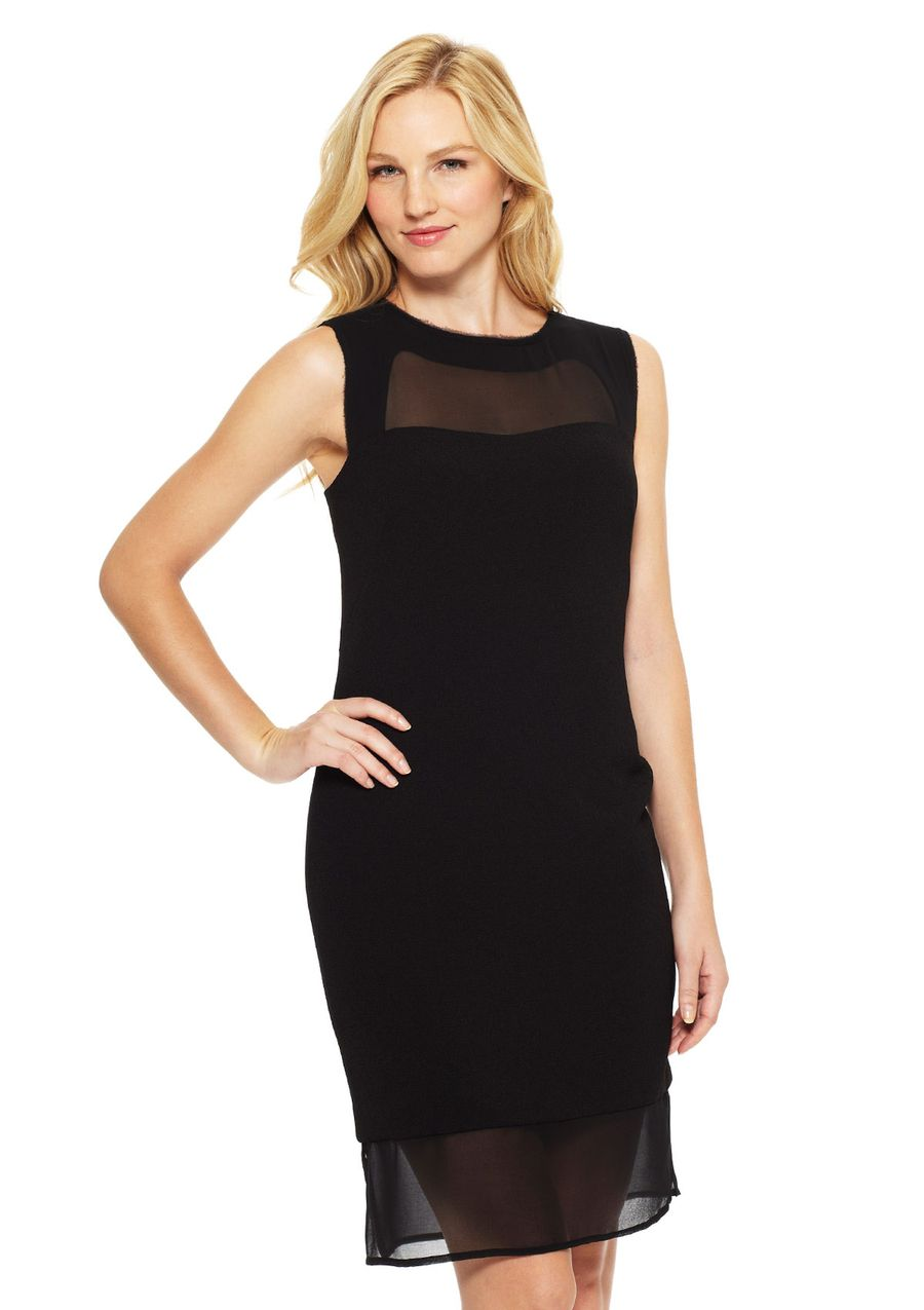 What to wear over a sleeveless dress to a wedding  Sleevless Fitted Dress Sleeveless dress Crew neckline Contrast